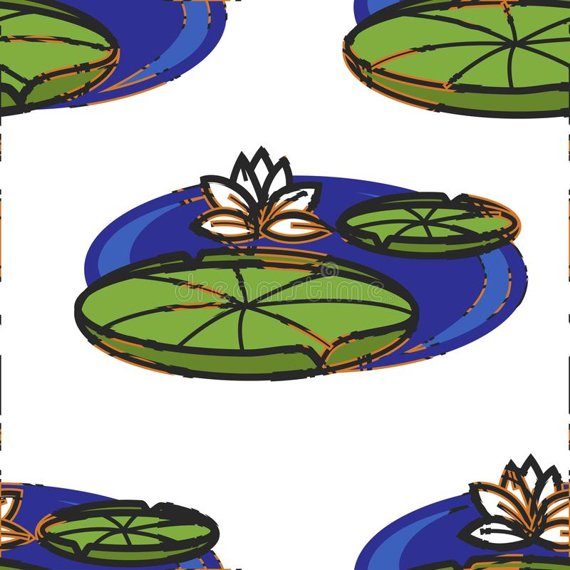 Lotus flower and leaves on water Oriental seamless pattern vector illustration