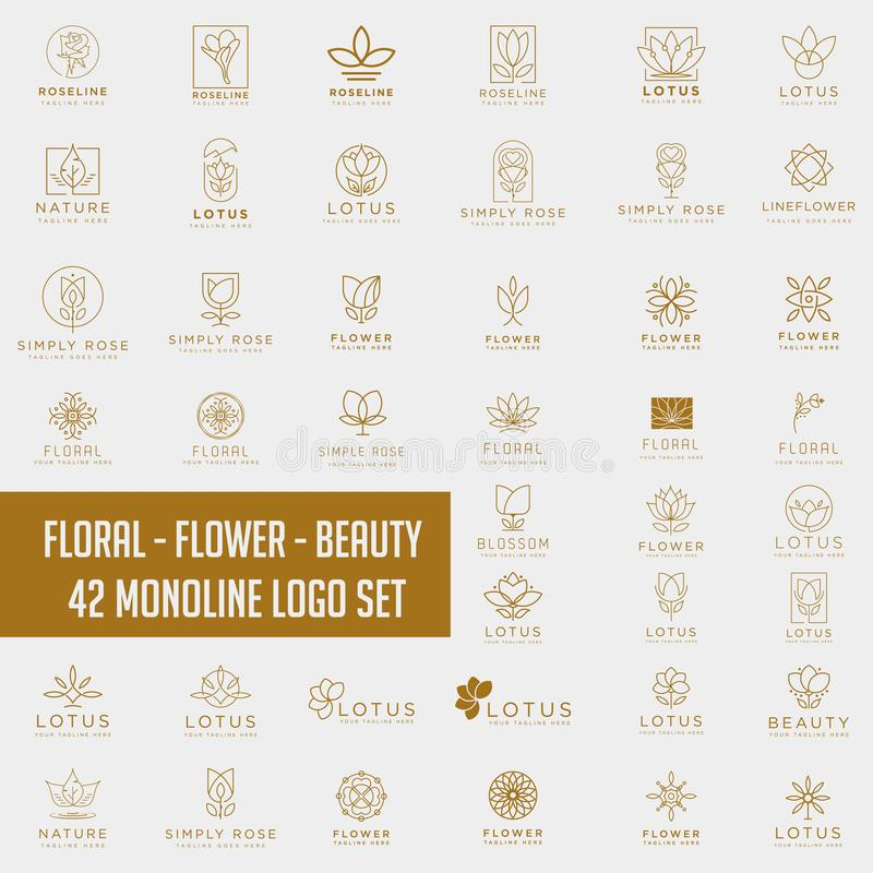 Lotus Flower Logo collection abstract Beauty Spa salon Cosmetics. Lotus Flower line Logo collection abstract Beauty Spa salon Cosmetics brand Linear style stock photos