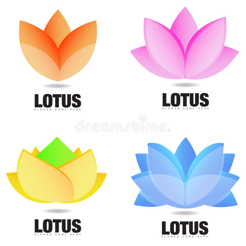 Lotus Flower Logo vektor illustrationer