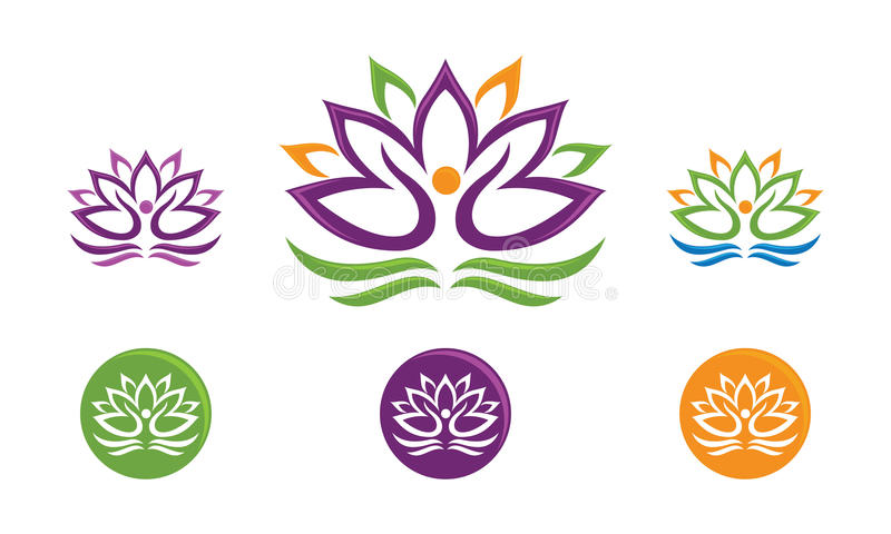 Lotus Flower Logo. A vector drawing represents lotus people design