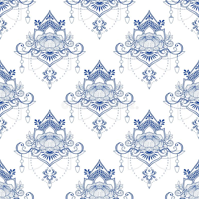 Lotus flower in mandala meditation style seamless pattern in Porcelain tone or light blue and white background royalty free illustration