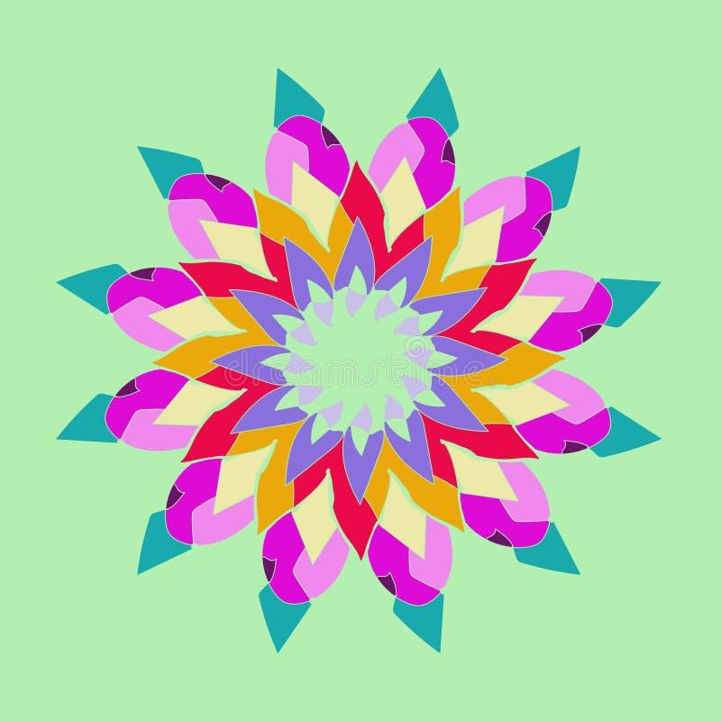 LOTUS FLOWER MANDALA. PLAIN AQUAMARINE BACKGROUND. CENTRAL LINEAR FLOWER IN VIOLET, PURPLE, RED, BEIGE, ORANGE, GREEN stock illustration