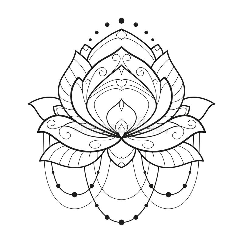 Lotus flower monochrome geometrical vector illustration is isolated on a white background. Symmetric decorative element with east. Motives for design. Version royalty free illustration