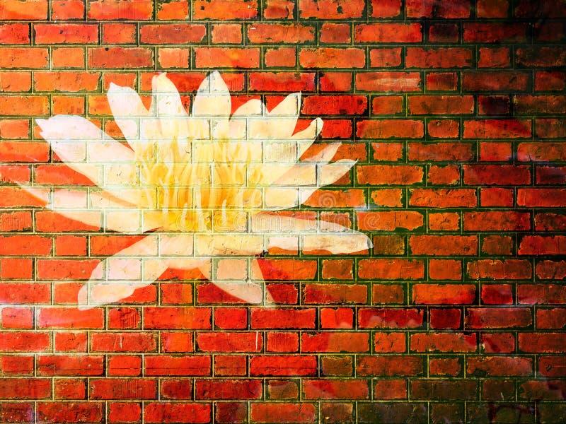 Lotus Flower op Rode bakstenen muurtextuur royalty-vrije stock foto's