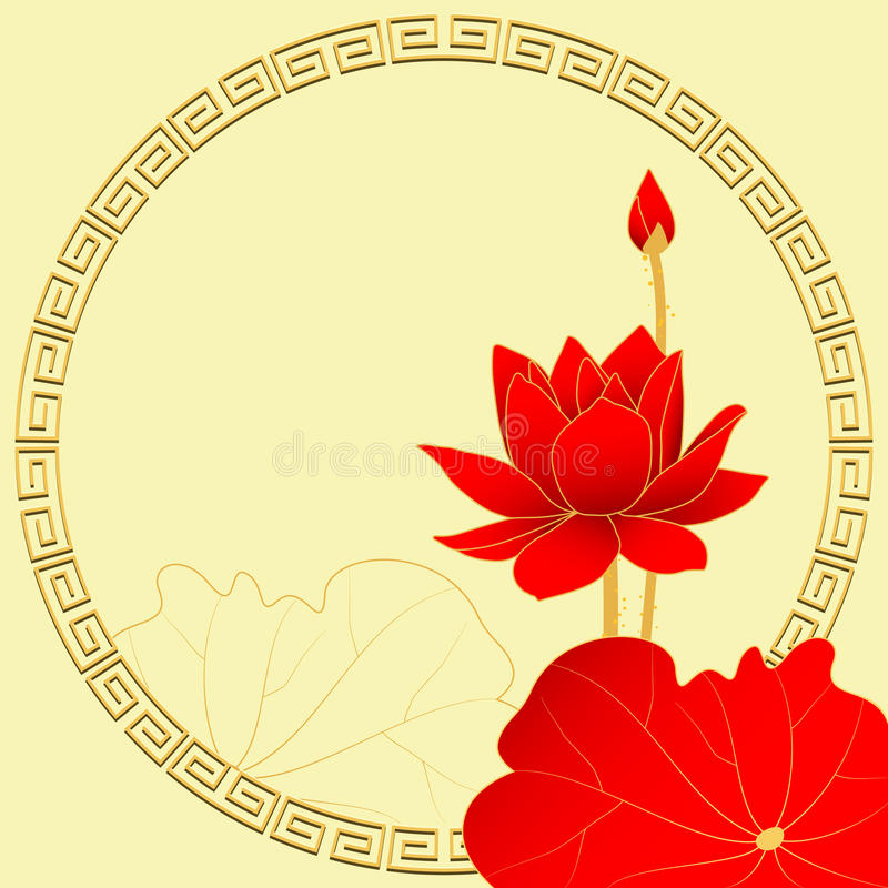 Lotus Flower orientale sur le fond jaune illustration libre de droits