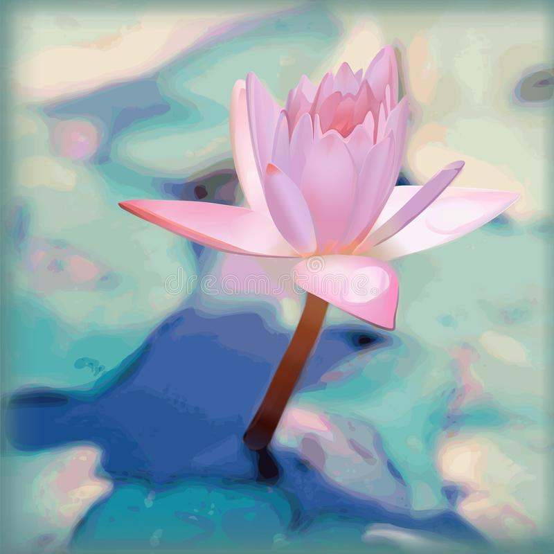 Lotus flower or pink water lily.Vector floral background. stock illustration