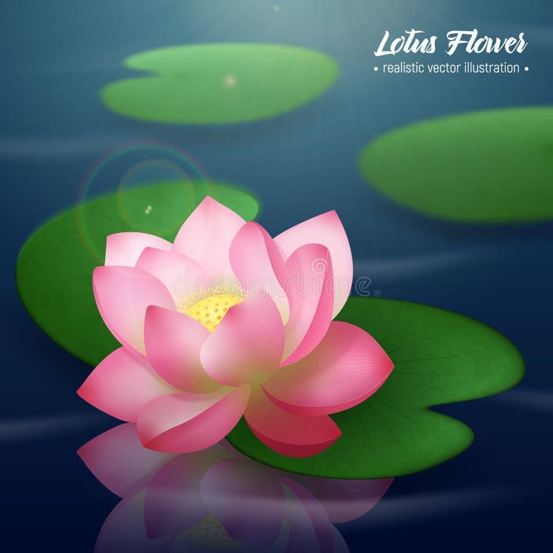 Lotus Flower Realistic Background illustrazione di stock