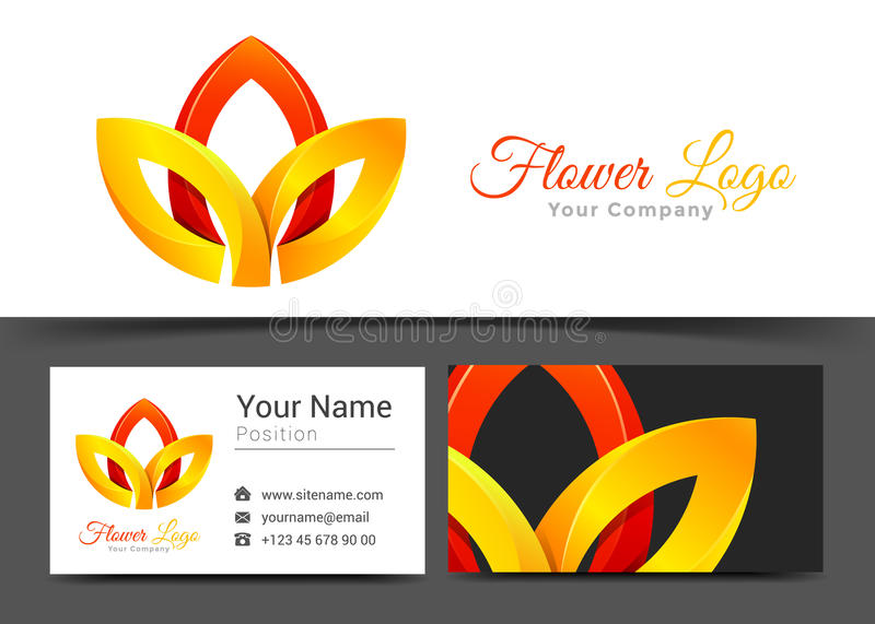 Lotus Flower Red y yoga amarilla Corporate Logo y negocio libre illustration