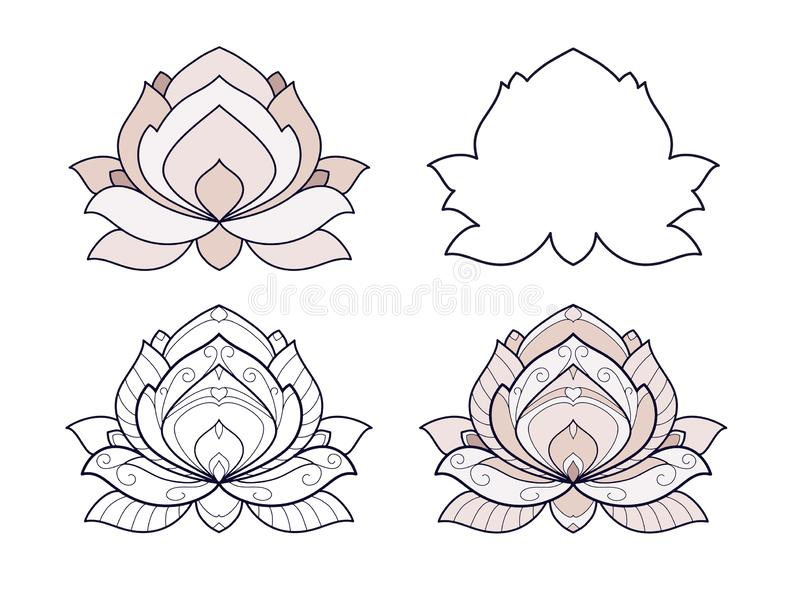 Lotus flower set vector illustration is isolated on a white background. Symmetric decorative element with east motives for design.  royalty free illustration