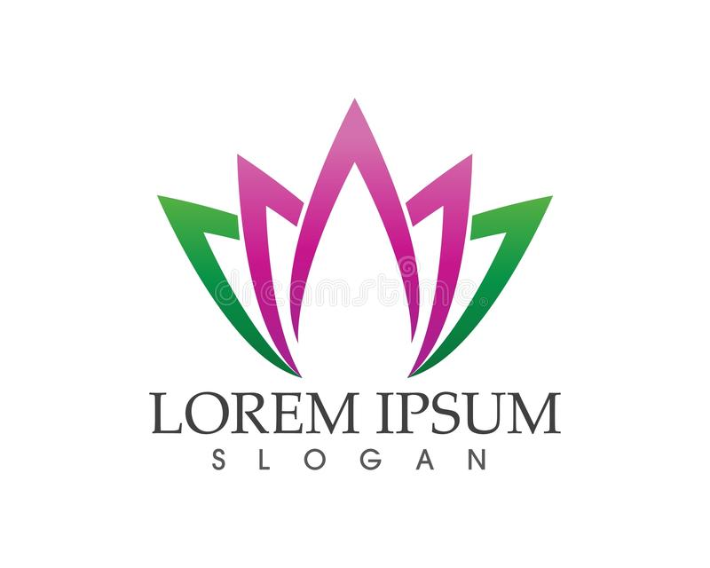 Lotus Flower Sign for Wellness, Spa and Yoga Vector Illustratio royalty free illustration