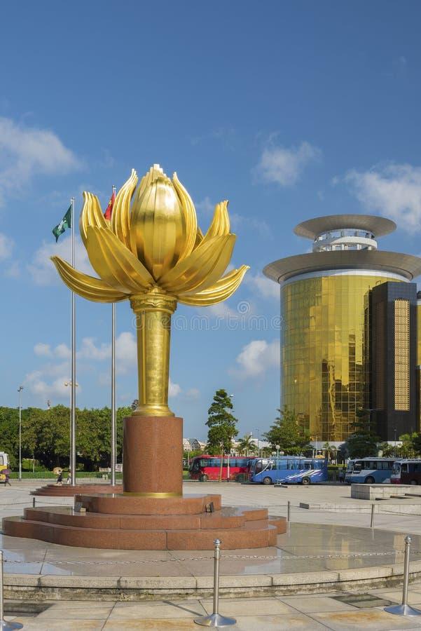 Lotus Flower staty i Macao royaltyfria foton