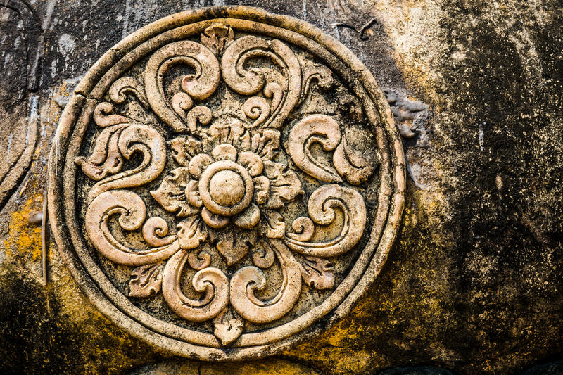 Lotus Flower Stone carving, ancient symbol royalty free stock photography