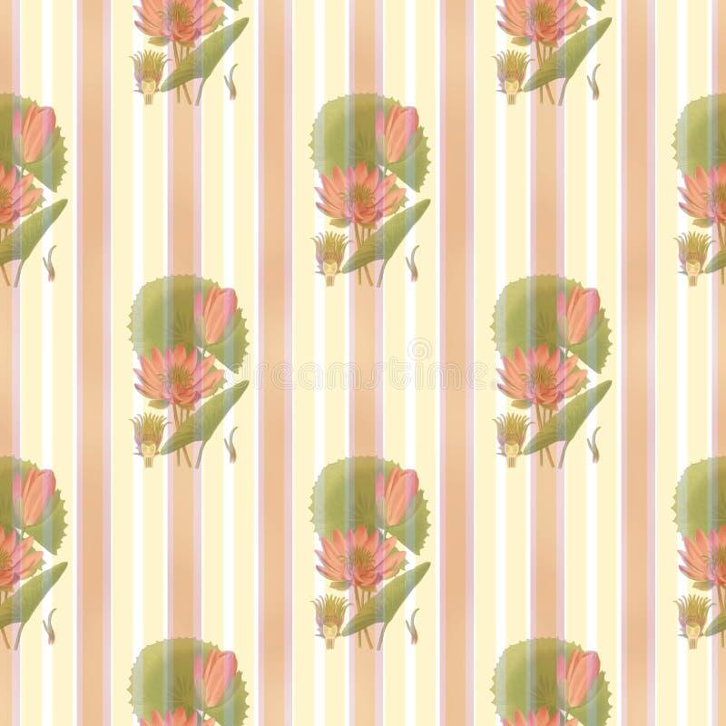 Lotus-flower-and-stripes-pattern Free Public Domain Cc0 Image