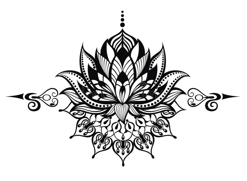 Lotus flower.Tattoo stock illustration