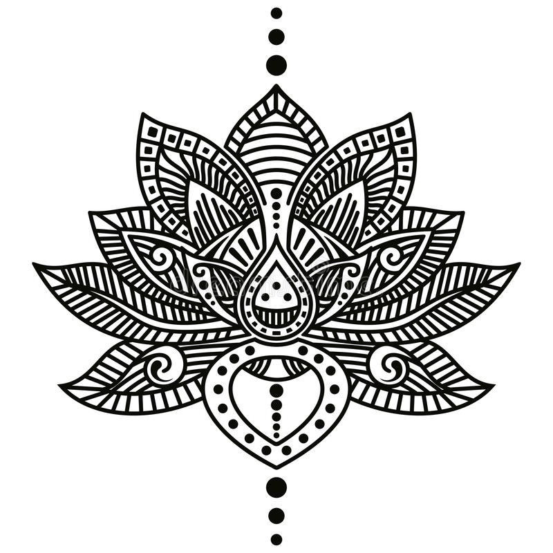 Lotus flower tattoo. Vector image of lotus flower tattoo isolated on white background royalty free illustration
