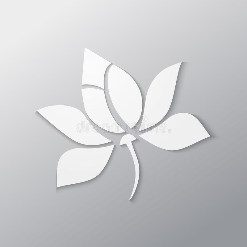 Lotus flower. Vector paper cutout in white vector illustration