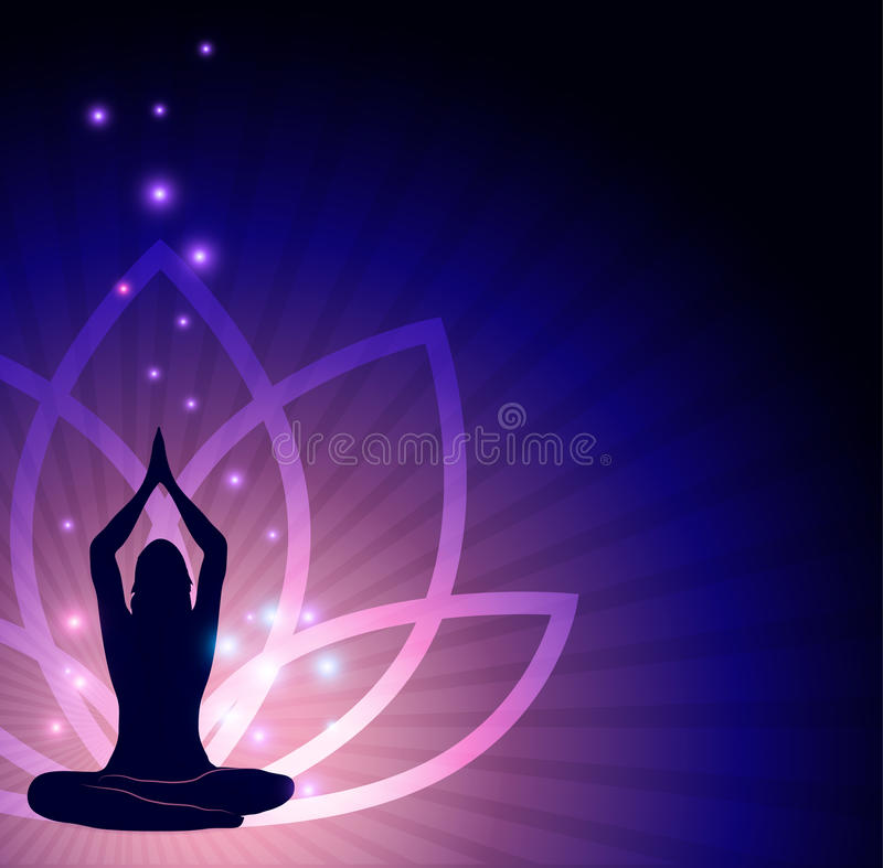 Lotus flower and yoga royalty free illustration