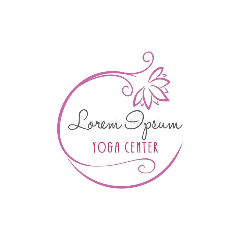 Lotus Flower Yoga Beauty Center Logo Vector Design royaltyfri illustrationer