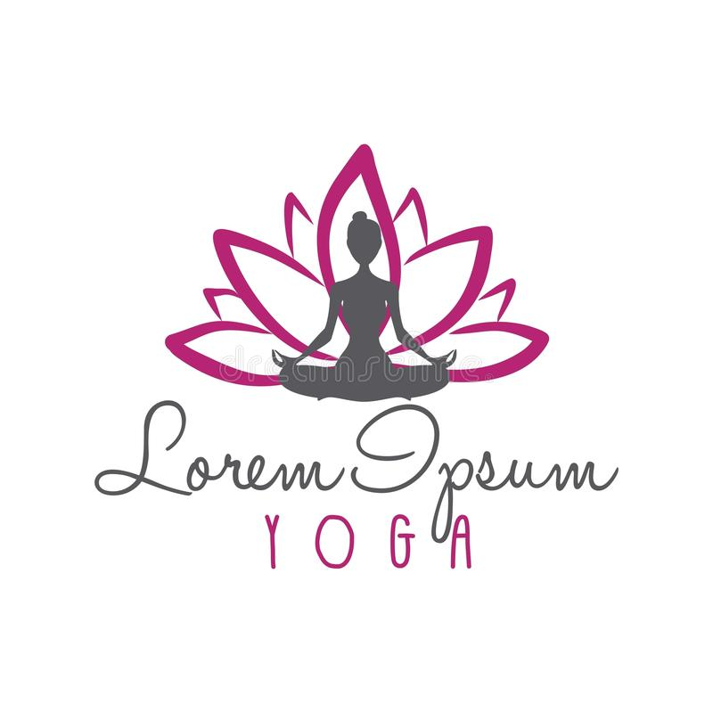 Lotus Flower, yoga Logo Vector della siluetta della donna illustrazione vettoriale