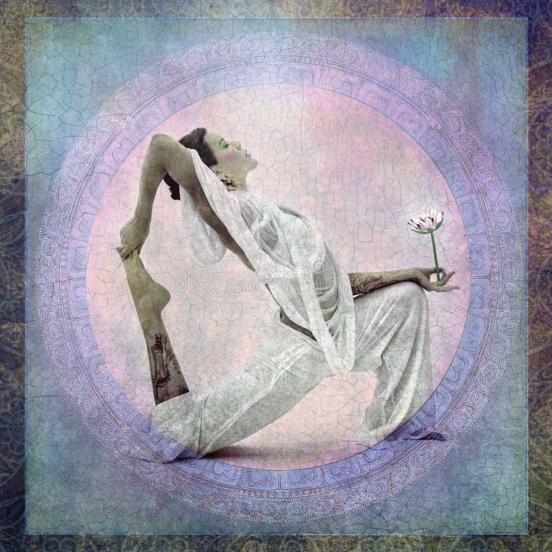 Lotus Flower Yoga Woman espiritual ilustração royalty free