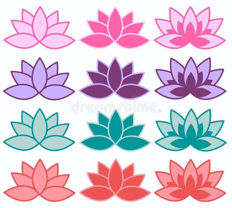 Lotus flowers in different colours. Illustration of lotus flowers in different colour combinations royalty free illustration