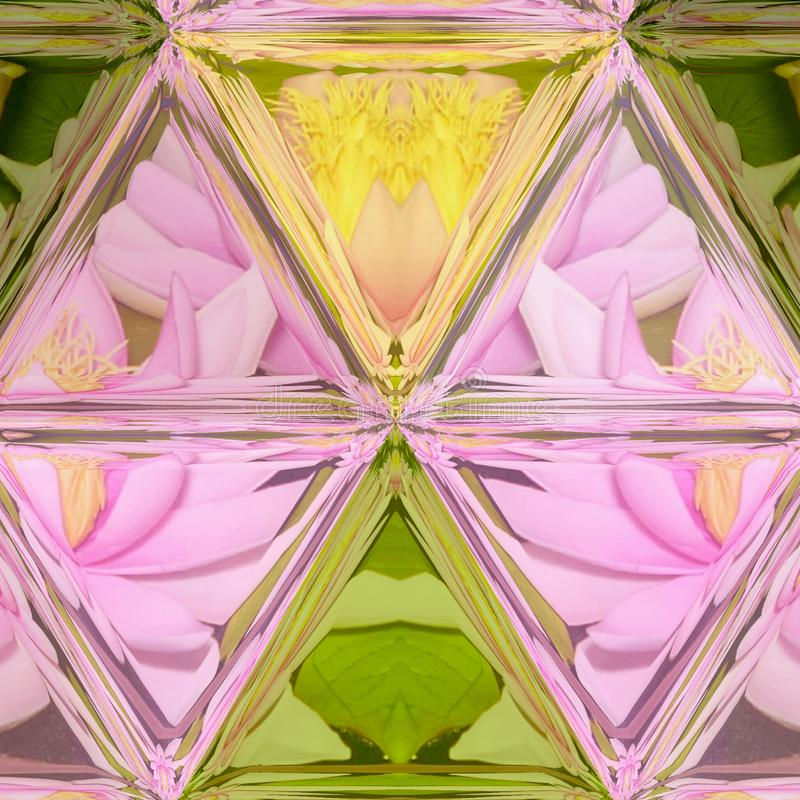 Lotus flowers and mosaic triangle stained glass background royalty free illustration