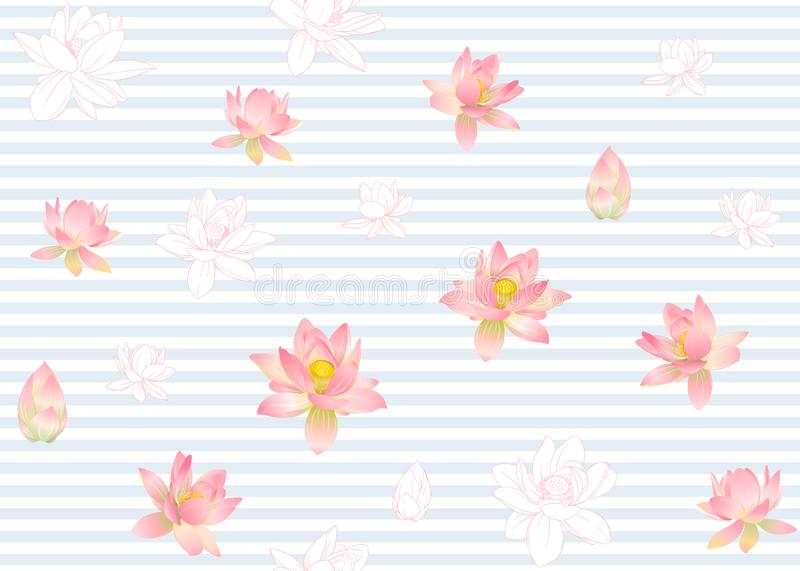Lotus flowers seamless pattern. Vector illustration. On blue and white stripes background. Colored and outline design vector illustration