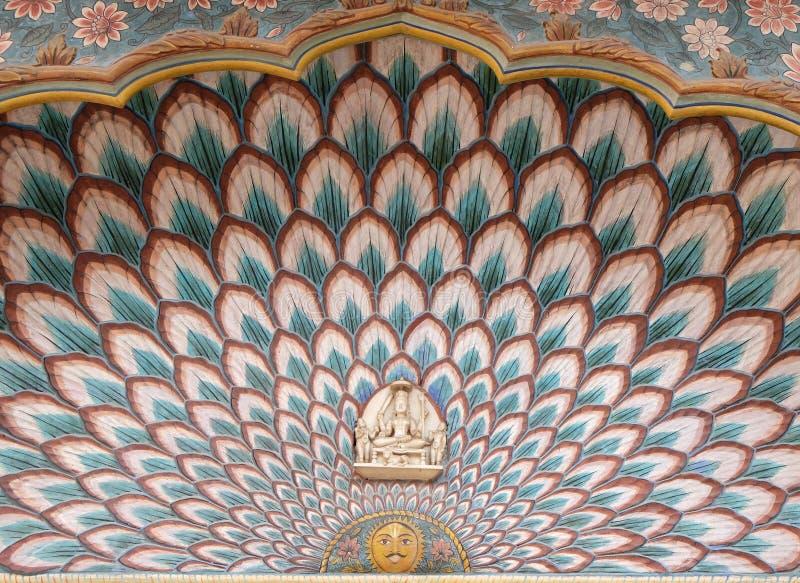Lotus Gate en Chandra Mahal, palacio de la ciudad de Jaipur fotografía de archivo