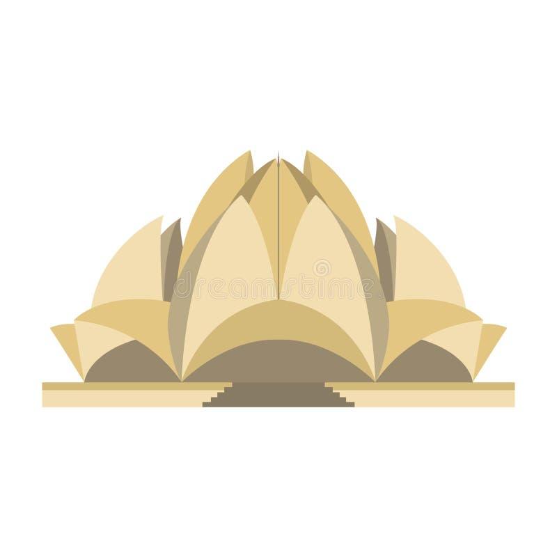 Lotus-geïsoleerde tempel stock illustratie