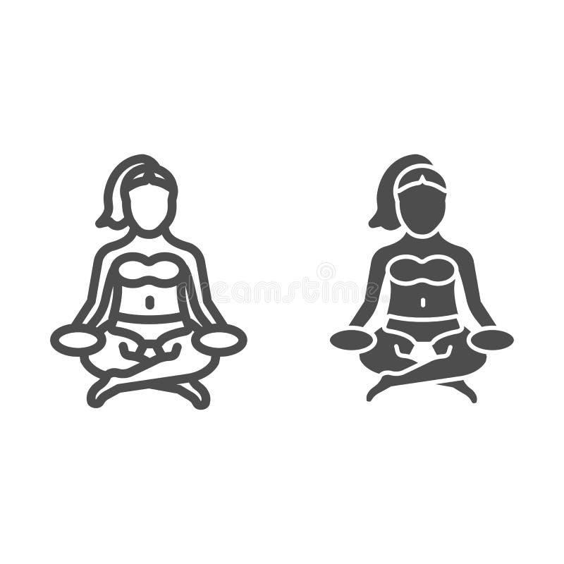 Lotus-Haltungslinie und Glyphikone Yogavektorillustration lokalisiert auf Weiß Entwurfs-Artentwurf der Frau meditierender vektor abbildung