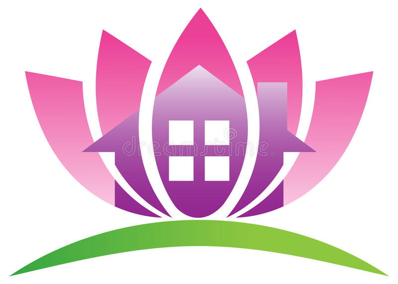 Lotus home. Illustration of lotus home design isolated on white background vector illustration