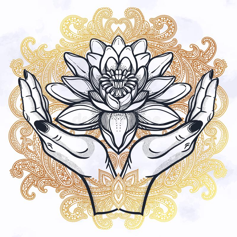 Lotus i h?nder royaltyfri illustrationer