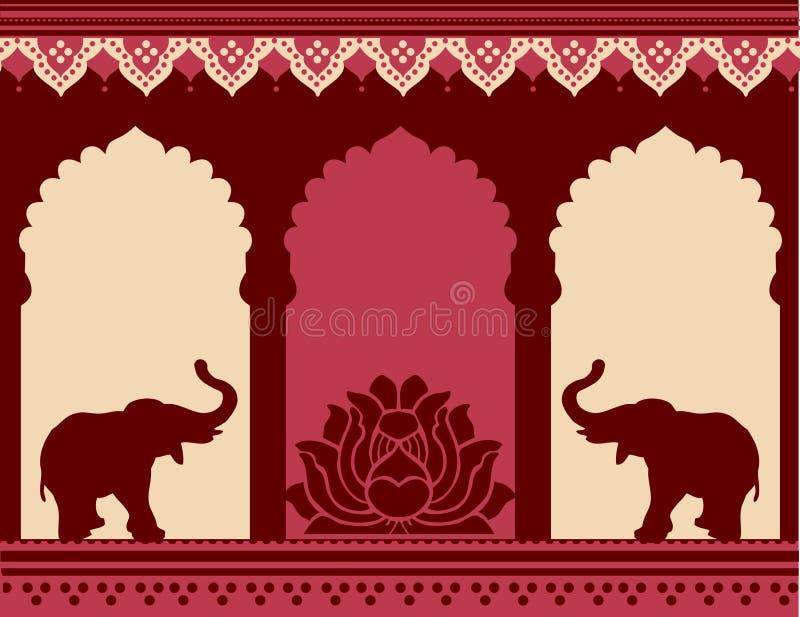 Lotus i słoń świątyni tło ilustracji