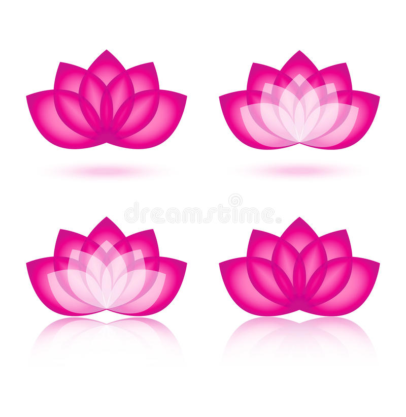 Lotus icon and logo design. Collection of 4 pink white blossom lotus icon on white background. Ideal for your company logo
