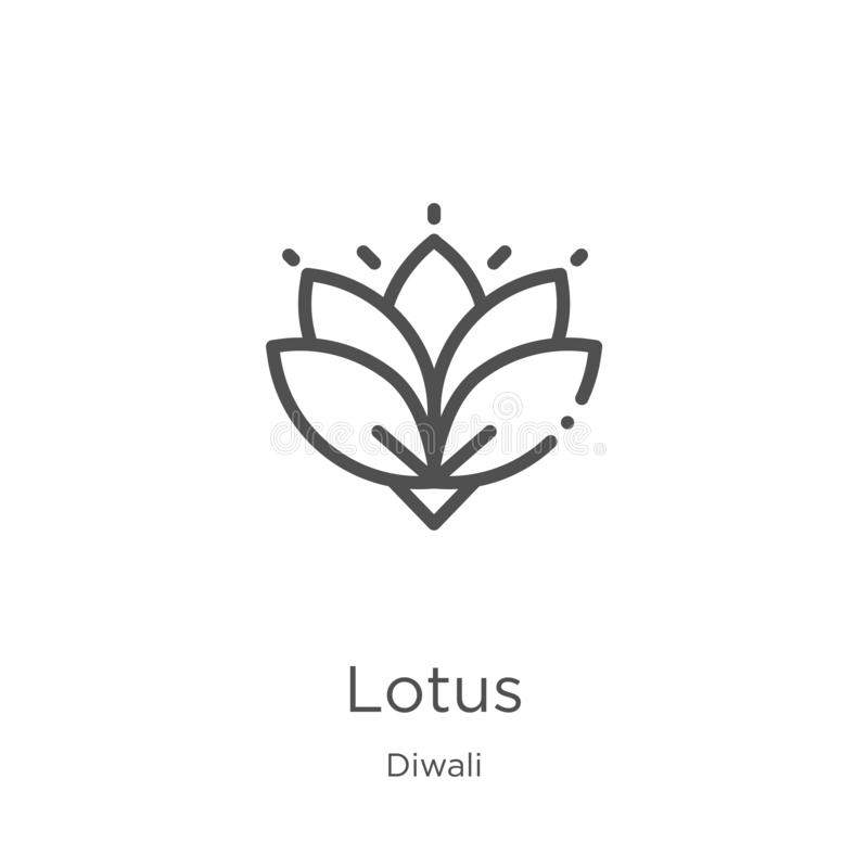 Free Lotus Icon Vector From Diwali Collection. Thin Line Lotus Outline Icon Vector Illustration. Outline, Thin Line Lotus Icon For Stock Images - 147854314