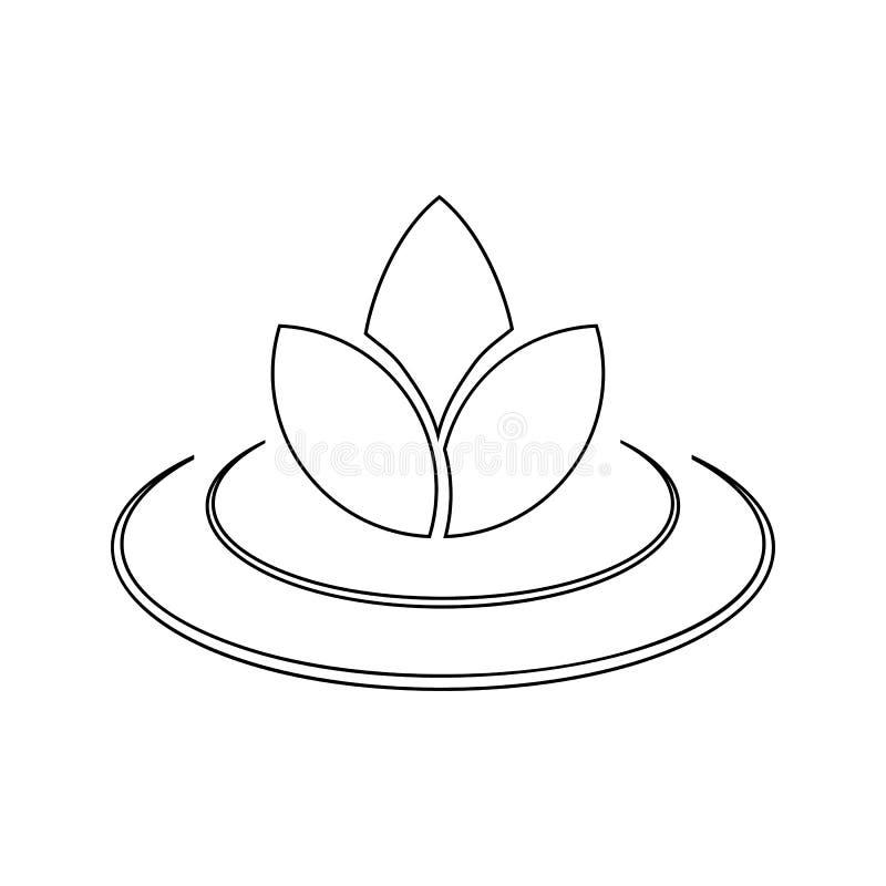 Lotus-Ikone Element des BADEKURORTES für bewegliches Konzept und Netz Appsikone Dünne Linie Ikone für Websitedesign und Entwicklu vektor abbildung