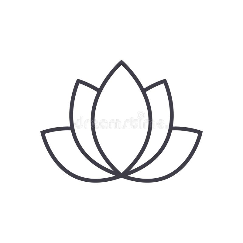 Lotus,india vector line icon, sign, illustration on background, editable strokes royalty free illustration