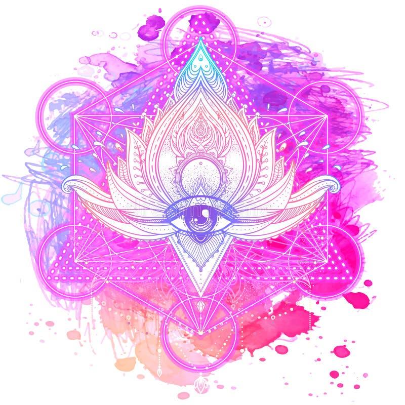 Lotus inspireerde overladen samenstelling over kleurrijke waterverf backg royalty-vrije illustratie