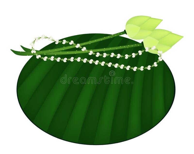 Lotus and Jasmine Garland on Green Banana Leaf royalty free illustration