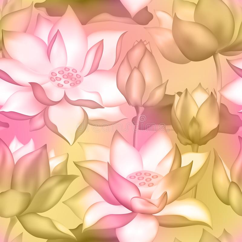 Lotus kwiatów i pączków bezszwowy tło , Nawadnia lilly nelumbo nadwodnej rośliny botanicznego projekt ilustracji