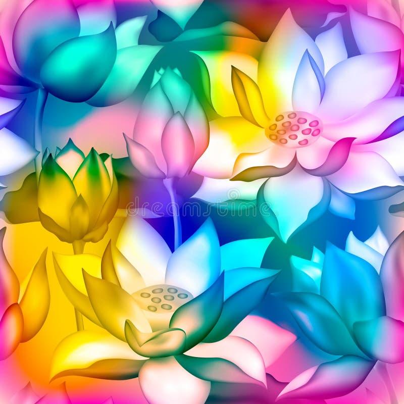 Lotus kwiatów i pączków wektoru bezszwowy wzór , Nawadnia lilly nelumbo nadwodnej rośliny kwiecistego graficznego projekt ilustracji