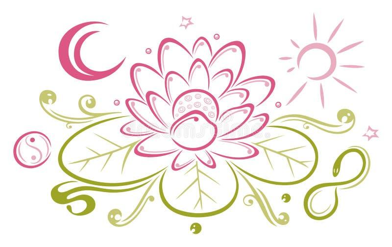 Lotus, kwiaty, księżyc, słońce ilustracja wektor