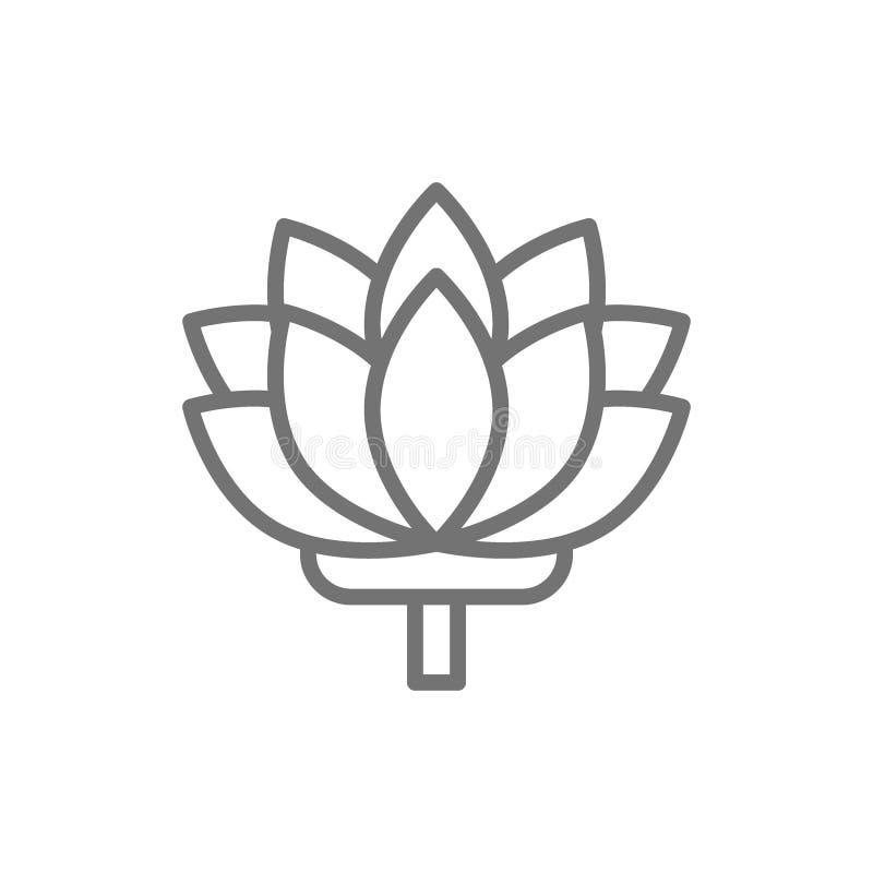 Lotus, línea india icono de la flor stock de ilustración