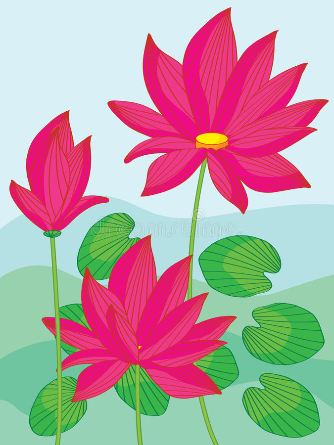 Lotus Landscape vector illustratie