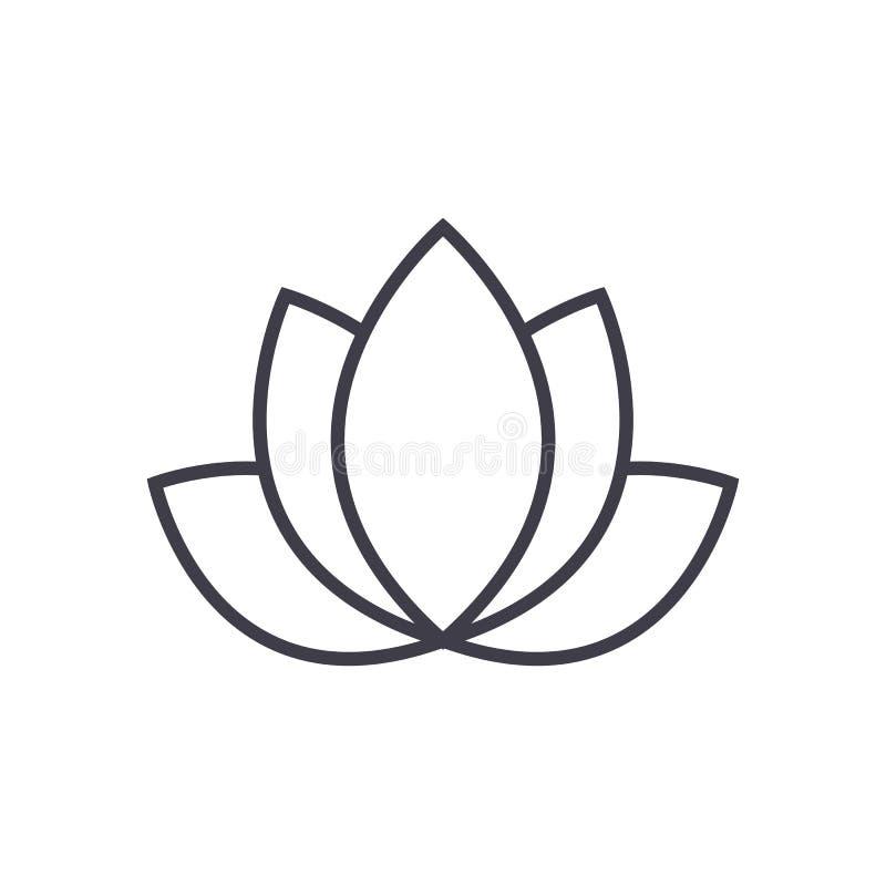 Lotus, ligne icône, signe, illustration de vecteur d'Inde sur le fond, courses editable illustration libre de droits
