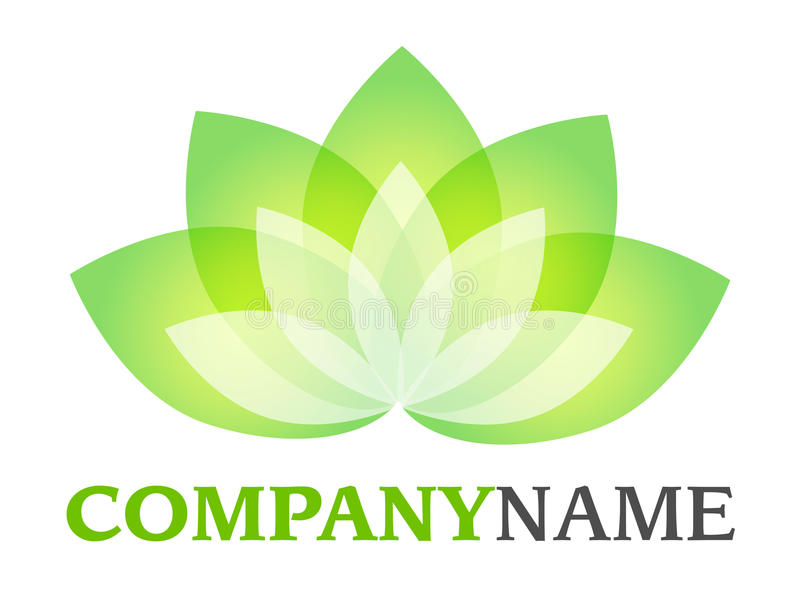 Lotus logo. Isolated vector company logo with green white blossom leaves lotus icon on white background