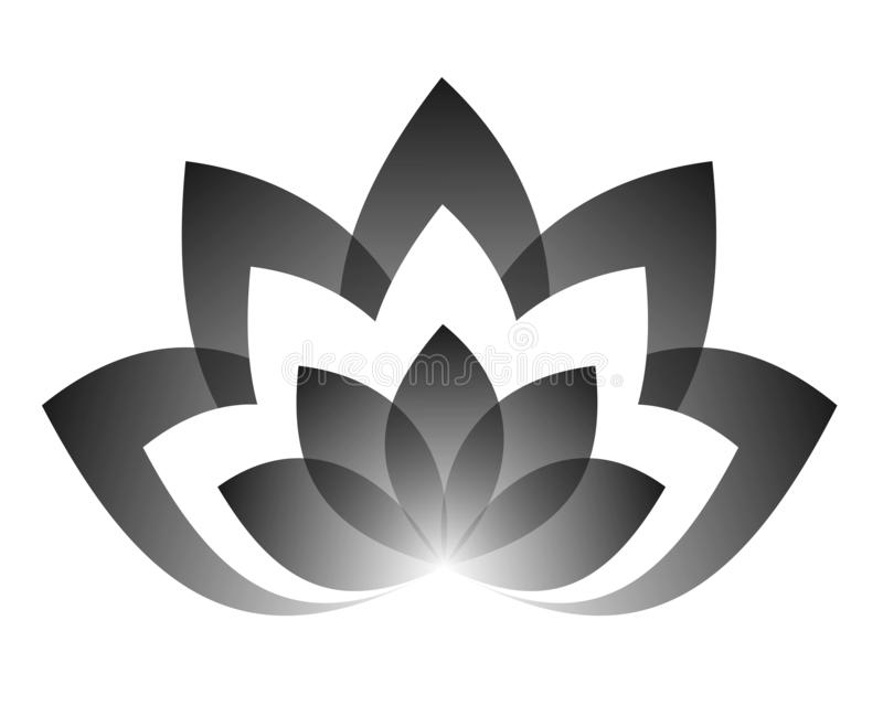 Vector drawing of a lotus in black color yin yang. stock illustration
