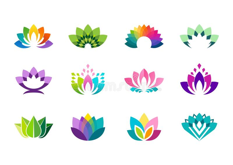 Lotus logo, lotus flower logo symbol, lotus flowers logotype vector design. Lotus logo, lotus flowers logos, set of collection beauty flowers symbol icon vector royalty free illustration