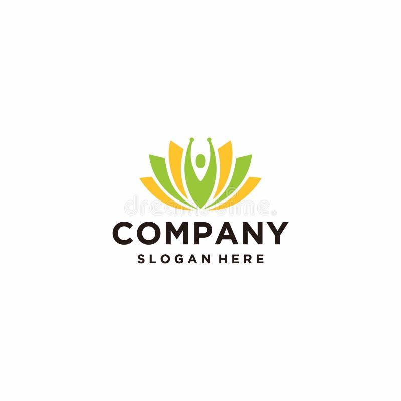 Lotus logo minimalis modern design. Template with orange and green colors stock illustration