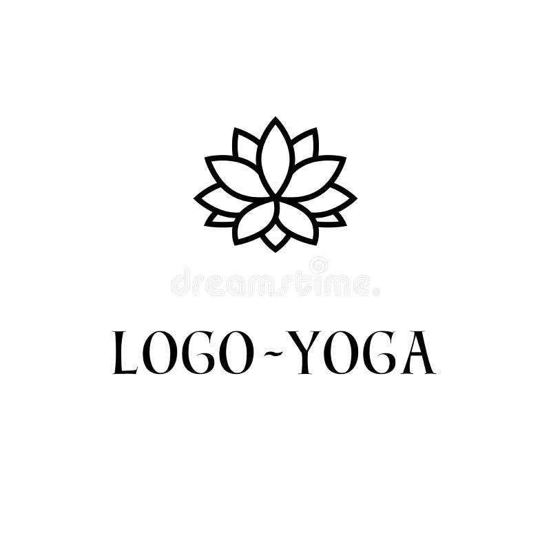 Lotus Logo Template Logotype per pratica di yoga, simbolo sacro della geometria, meditazione, stazione termale, benessere royalty illustrazione gratis